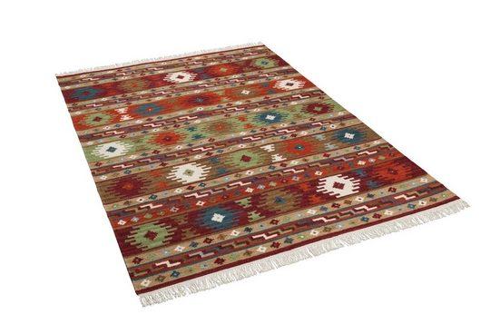 Wollteppich »Natur Teppich Kelim Sumak Modern«, THEKO, Rechteckig, Höhe 10 mm