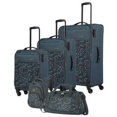 travelite Trolleyset »Argon«, 4 Rollen, (5-teilig, 5 tlg), Polyester