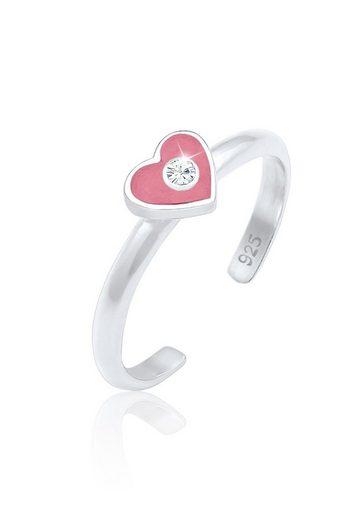 Elli Fingerring »Kinder Herz Enamel Swarovski® Kristall 925 Silber«, Herz