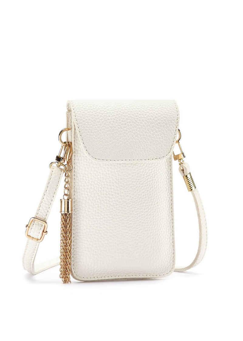 LASCANA Umhängetasche, modische Minibag, Handytasche zum Umhängen mit praktischem Sichtfenster und abnehmbarer Tassel