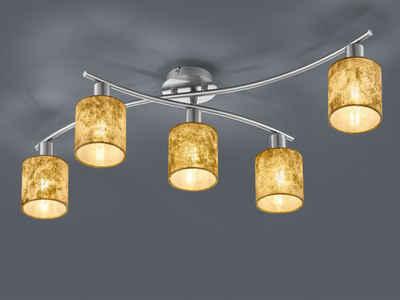 meineWunschleuchte LED Deckenleuchte, Designklassiker, Schwenkbar, 5 flammig, Runde Lampenschirme Stoff Gold
