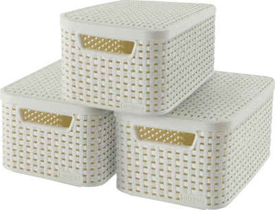 Curver Aufbewahrungsbox »STYLE Box S« (Set, 3 Stück), creme