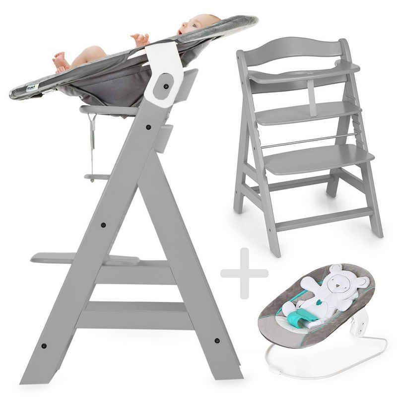 Hauck Hochstuhl »Alpha Plus Grau - Newborn Set« (Set, 4 Stück), Holz Hochstuhl ab Geburt + Neugeboreneneinsatz & Wippe
