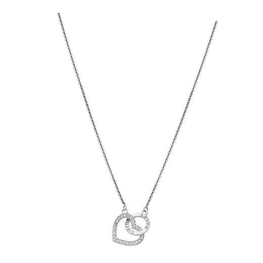 LOTUS SILVER Kette mit Anhänger »JLP1864-1-1 LOTUS Silver Herz Halskette weiß« (Halsketten), Halsketten für Damen 925 Sterling Silber, weiß, silber