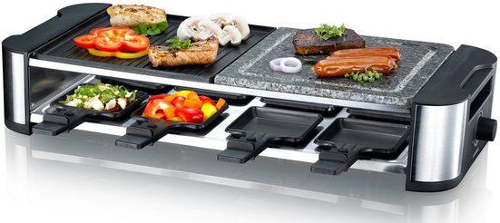 MELISSA Raclette 16300025 Raclette mit Hot Stone für 8 Personen 1300 Watt Power mit Stein- und Grillplatte und regelbarer Temperatur, 8 Raclettepfännchen, 1300 W