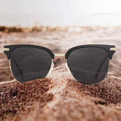 Luxear Sonnenbrille Luxear Sonnenbrille Damen Retro Sunglasses, 2021 Trend Vintage Style Verlaufsglas Metallbügeln 100% UV400 Schutz (black-19-Party)