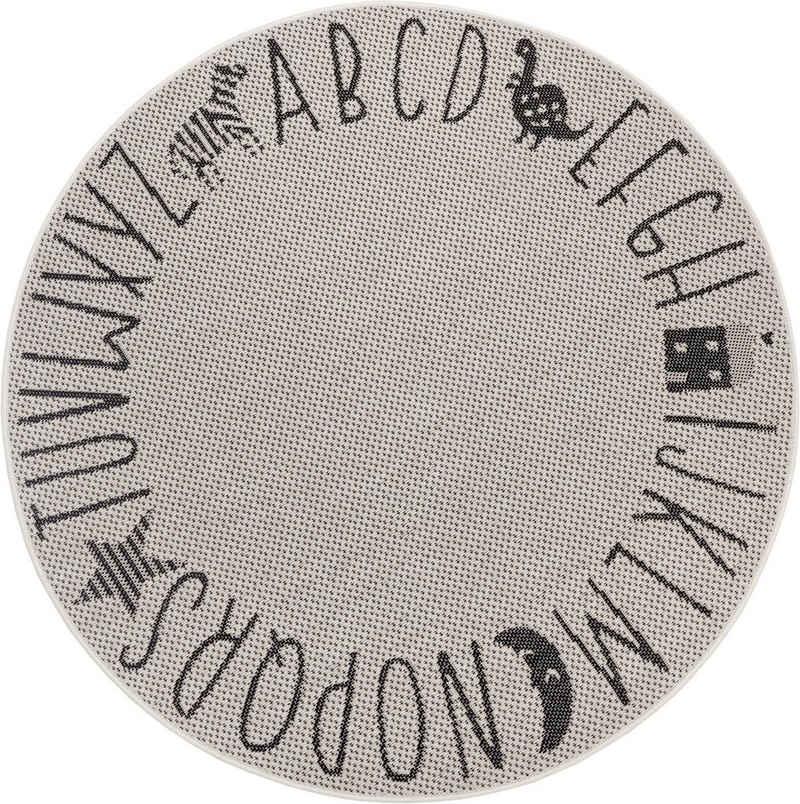 Kinderteppich »Alphabet«, Lüttenhütt, rund, Höhe 3 mm, In- und Outdoor geeignet