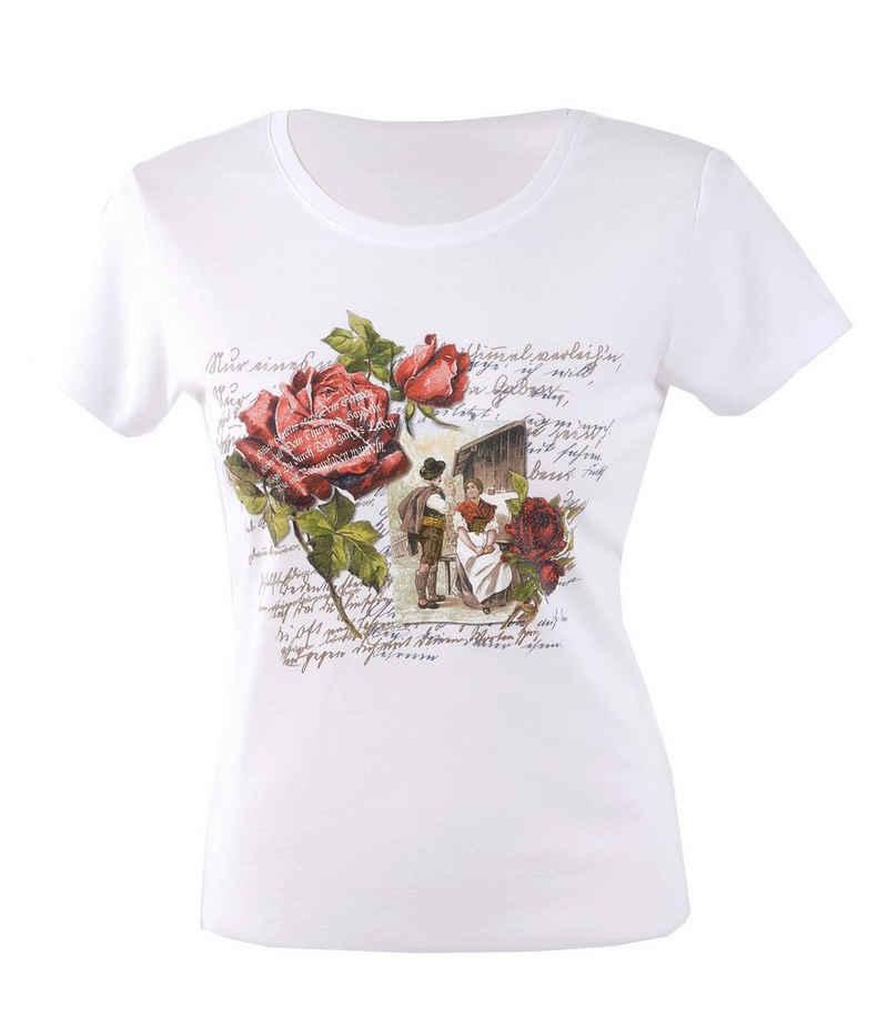 Moschen-Bayern Trachtenshirt »Moschen-Bayern Damen Trachtenshirt Shirt Tshirt Trachten T-Shirt Stickerei Blumen Weiß« Shirt, T-Shirt, Trachtenshirt, Printshirt, Rundhalsshirt