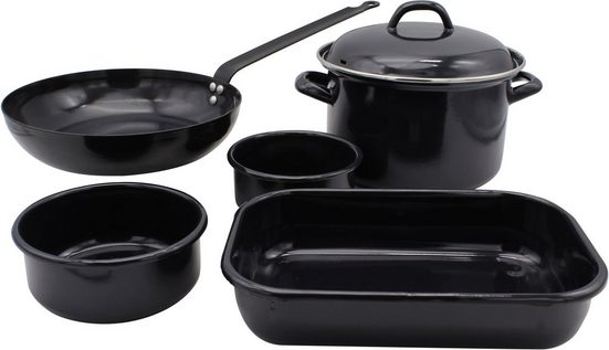 Krüger Topf-Set »Black«, Emaille, (Set, 6-tlg), Induktion
