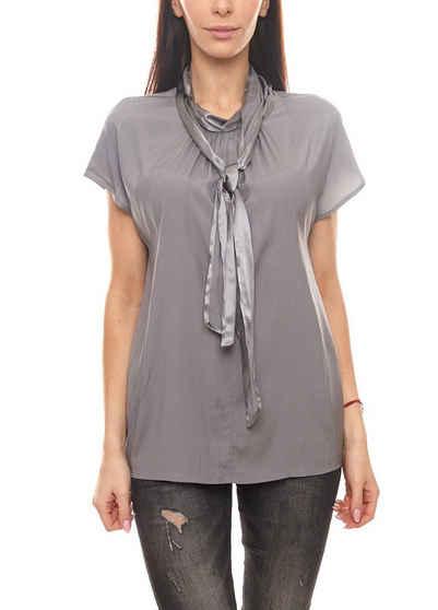 Laurèl Seidenbluse »Laurél Seiden-Bluse edle Damen Kurzarm-Bluse im leicht glänzenden Seidenmix Business-Bluse Grau«