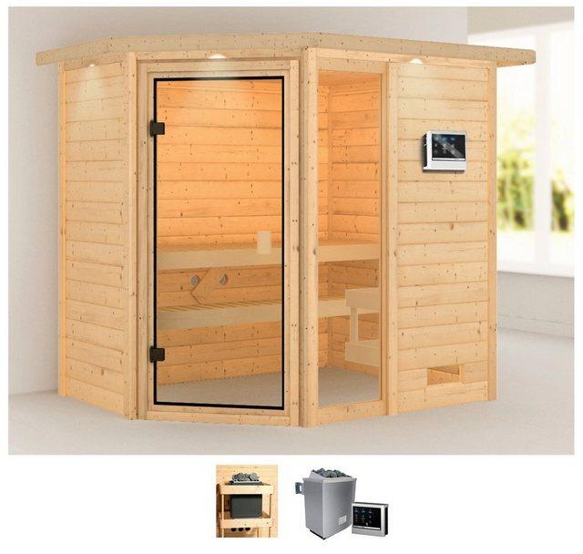 Saunen und Zubehör - KARIBU Sauna »Josie«, 224x160x191 cm, 9 kW Ofen mit ext. Steuerung, Dachkranz  - Onlineshop OTTO
