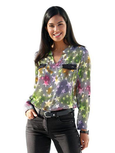 Amy Vermont Bluse in buntem Streifen- und Sternendruck