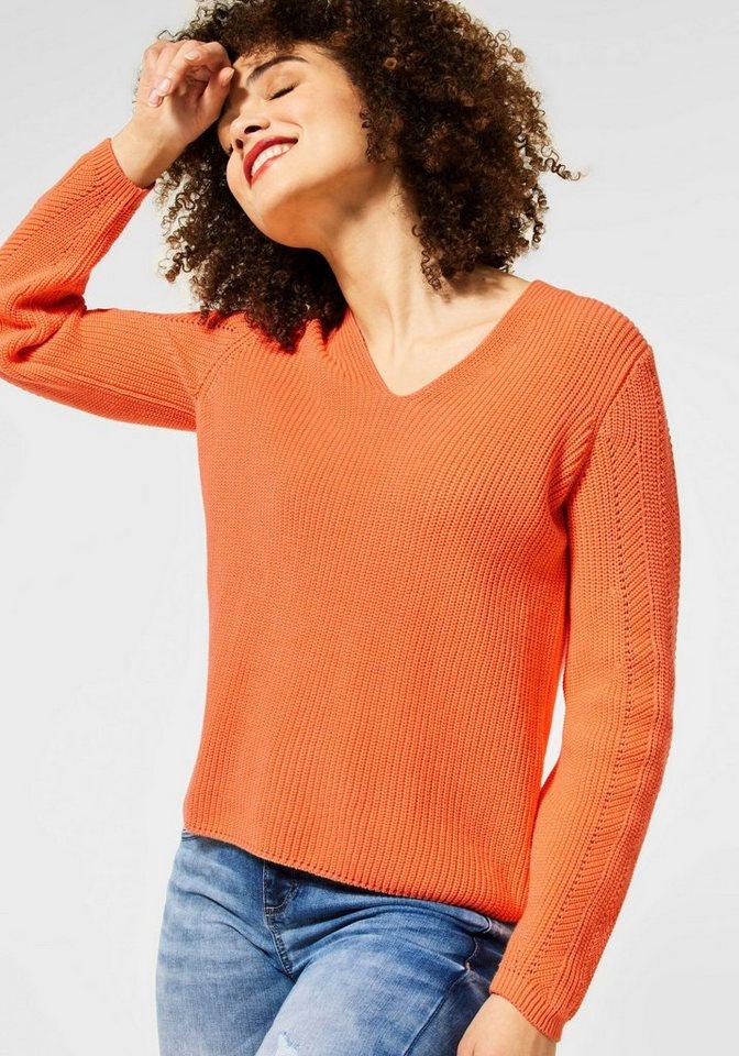 street one -  V-Ausschnitt-Pullover in unterschiedlichem Strickdesign