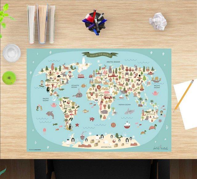 Kindertische - cover your desk.de Schreibtischaufsatz »Schreibtischunterlage für Kinder – Weltkarte – 60 x 40 cm – aus hochwertigem Vinyl«, (1 St)  - Onlineshop OTTO