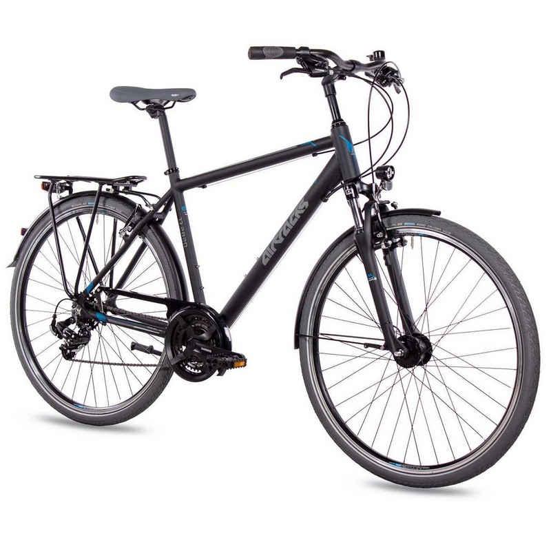 Airtracks Trekkingrad »Herren Trekking Fahrrad 28 Zoll Trekkingrad TR.2820«, 21 Gang SHIMANO ACERA RD-T3000 Schaltwerk, Kettenschaltung, Schwarz Matt - Rahmenhöhen 52cm, 56cm & 60cm » Modeljahr 2021 «