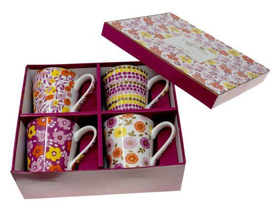 Lashuma Tasse »Blumen«, Porzellan, Henkelbecher Porzellan, Kaffeetassen je 300 ml Füllmenge