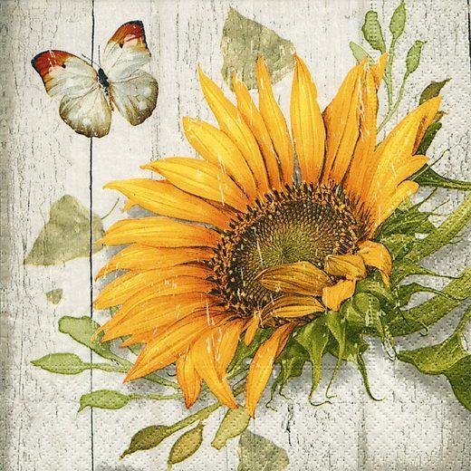 Paper+Design Papierserviette »Vintage Sunflower«, 33 cm x 33 cm