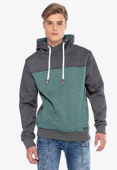 Cipo & Baxx Kapuzensweatshirt mit hohem Kragen