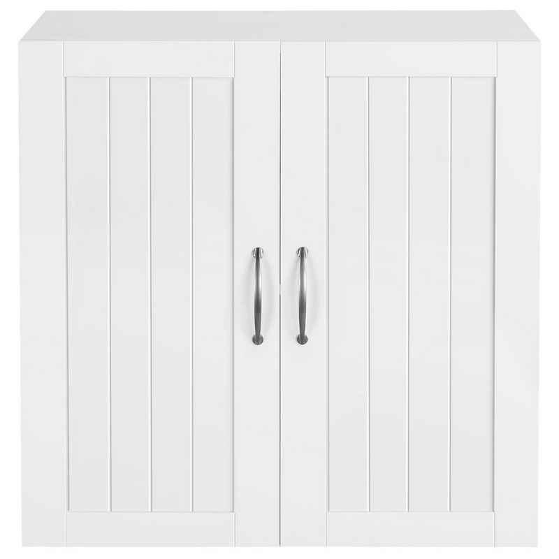 Yaheetech Badkommode, Hängeschrank mit 2 Türen, Badschrank, Wandschrank, Küchenschrank, Medizinschrank, Weiß