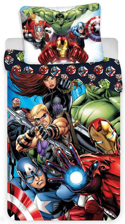 Kinderbettwäsche »Marvel´s The Avengers - Wende-Bettwäsche-Set, 135x200 & 80x80 cm«, The AVENGERS, 100% Baumwolle