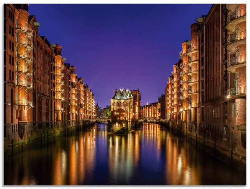 Artland Glasbild »Hamburg Speicherstadt bei Nacht«, Gebäude (1 Stück)