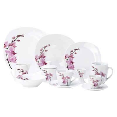 van Well Kombiservice »Kombiservice 124tlg. Kyoto Orchidee leicht eckig Porzellan für 12 Personen weiß mit Dekor«