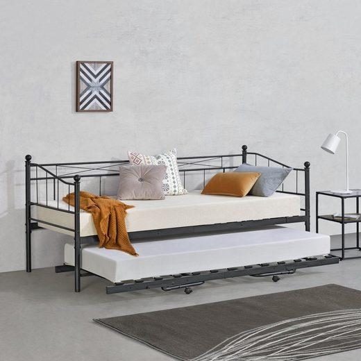en.casa Metallbett, »Skutskär« Tagesbett mit Zustellbett Kojenbett Gästebett mit ausziehbarer Liege 90x200cm Schwarz