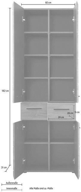 Badschränke - trendteam Hochschrank »Skin« Höhe 182 cm, Badezimmerschrank mit Fronten in Hochglanz oder Holzoptik, mit zwei Schubkästen  - Onlineshop OTTO