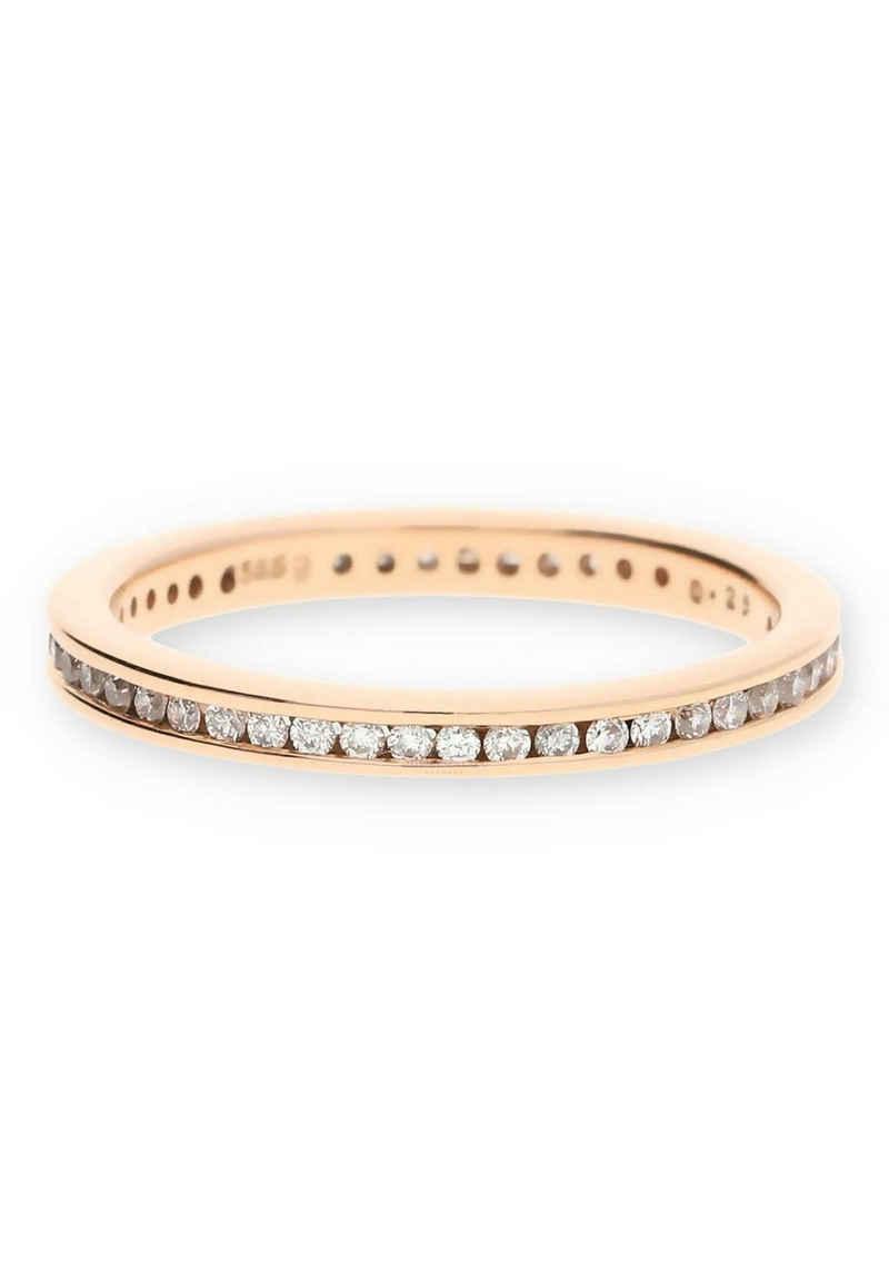 JuwelmaLux Diamantring »Ring Gold Damen mit Diamant(en)« (1-tlg), Rotgold 585/000, inkl. Schmuckschachtel