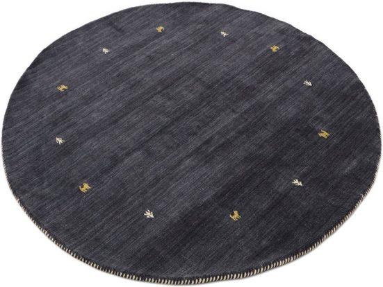 Wollteppich »Gabbeh Uni«, carpetfine, rund, Höhe 15 mm, handgewebt