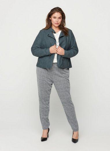 Zizzi Lederimitatjacke Große Größen Damen Kunstleder Jacke mit Reißverschluss und Taschen