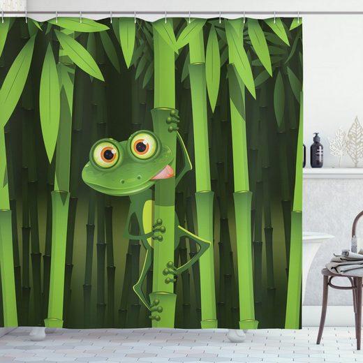 Abakuhaus Duschvorhang »Moderner Digitaldruck mit 12 Haken auf Stoff Wasser Resistent« Breite 175 cm, Höhe 180 cm, Bambus Jungle Bäume Spaß-Frosch