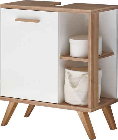 PELIPAL Waschbeckenunterschrank »Quickset 923« Breite 60 cm, seitliche offenes Regal, Holzgriff, Türdämpfer