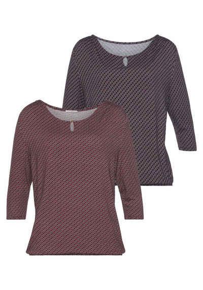 Vivance 3/4-Arm-Shirt (2er-Pack) mit kleiner Öffnung und goldfarbenen Zierknopf am Ausschnitt