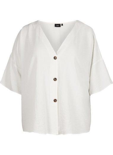 Zizzi Shirtbluse Große Größen Damen Bluse mit Knöpfen, V Ausschnitt und 3/4 Ärmeln