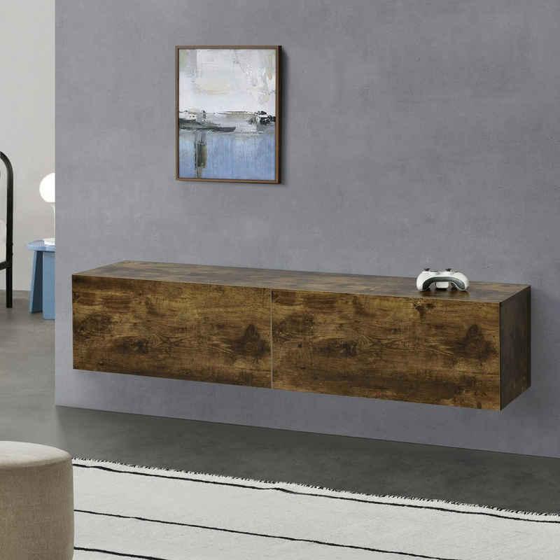 en.casa Hängeschrank »Evaton« Hängeboard TV Lowboard Hängekonsole 140 cm mit 2 Ablagefächern in Walnuss Optik