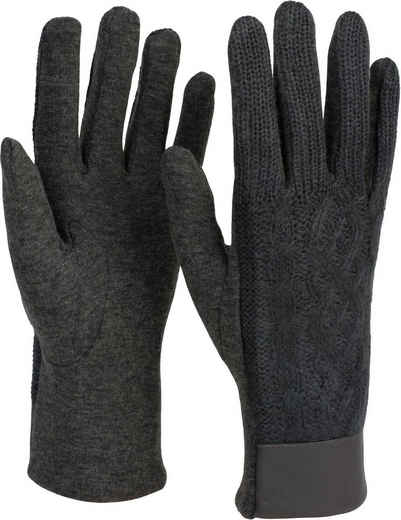 styleBREAKER Strickhandschuhe Touchscreen Handschuhe mit Zopfstrick Muster