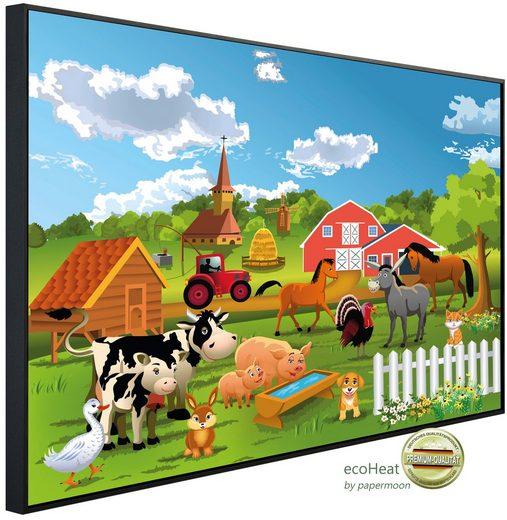 Papermoon Infrarotheizung »EcoHeat - Farm Kindermotiv«, Aluminium, 900 W, 74 x 120 cm, mit Rahmen