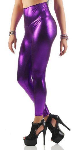 EloModa Leggings »Damen Leggings Hohe Taille Wet-Look Glanz;« (1-tlg)