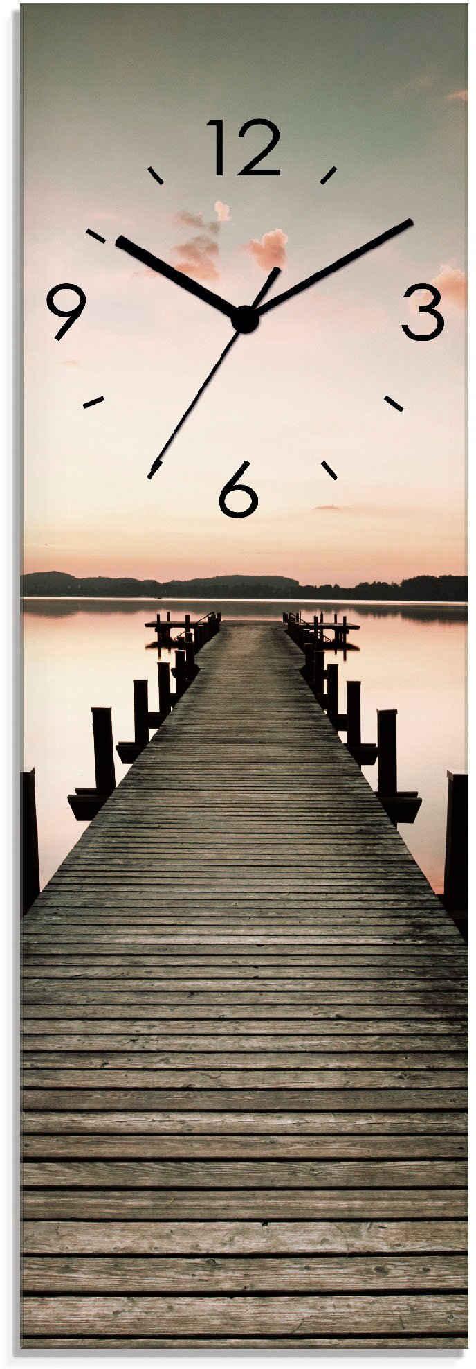 Artland Wanduhr »Langer Pier im Sonnenaufgang« (lautlos, ohne Tickgeräusche, nicht tickend, geräuschlos - wählbar: Funkuhr o. Quarzuhr, moderne Uhr für Wohnzimmer, Küche etc. - Stil: modern)