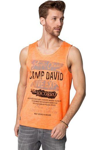 CAMP DAVID Tanktop mit offenen Kanten