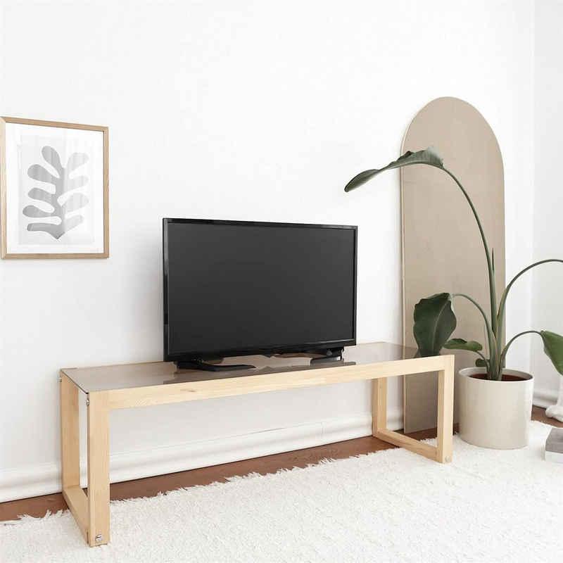 Gozos Lowboard »Fine Series Konsolentisch Glas, Massivholz, L130 x B40cm x H40cm, Sicherheitsglas, stilvolles TV Lowboard, Fernsehregal mit Glasablage«