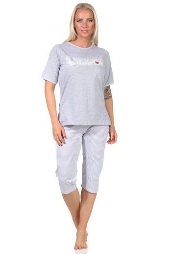 "Normann Pyjama »Toller Damen Capri-Schlafanzug mit 3/4-Hose, mit Frontprint ""New York City Loving"" 66337«"