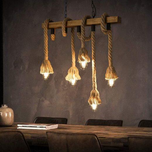 ZMH LED Pendelleuchte »aus Holz 5-flammig E27 70cm Länge Rustikal Hängeleuchte Industrielle Kronleuchter für Wohnzimmer Esszimmer Restaurant Café Hotel (ohne Leuchtmittel)«
