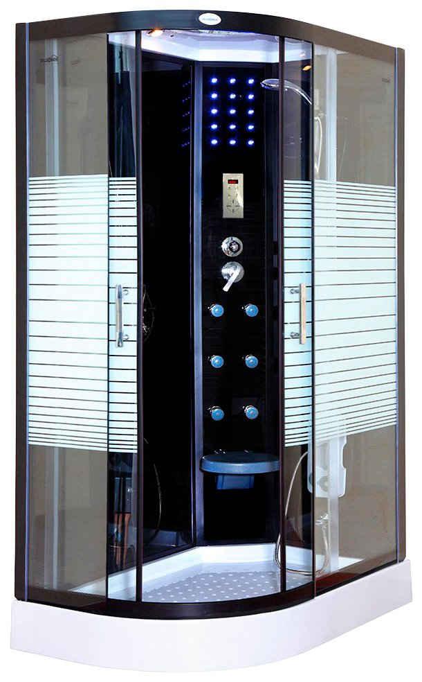 HOME DELUXE Dampfdusche »Black Pearl Komplettdusche«, BxT: 120x80 cm, Sicherheitsglas, 1-tlg., mit LED Beleuchtung und Radio