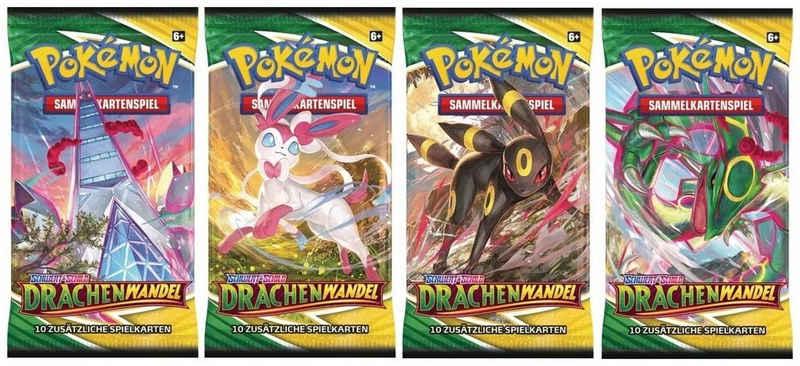 POKÉMON Sammelkarte »Pokémon Sammelkartenspiel - Schwert & Schild - Drachenwandel - 4 x Booster Packung (jedes Artwork 1 x) - deutsch«