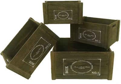 Mucola Holzkiste »Aufbewahrungsboxen 4er Set Braun Ordnung Shabby Holzkisten Vintage Retro Rustikal Wein Découpage Boxen Griff Kiste Dekorativ Offen Allzweckkiste Box« (4 Stück), 4er Set