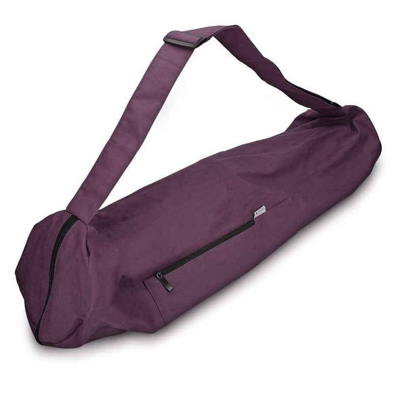 Navaris Yogatasche, Tasche für Yogamatte aus Baumwolle - für Yoga Matte mit Reißverschluss Tragegurt - Große Hülle 72 x 29cm
