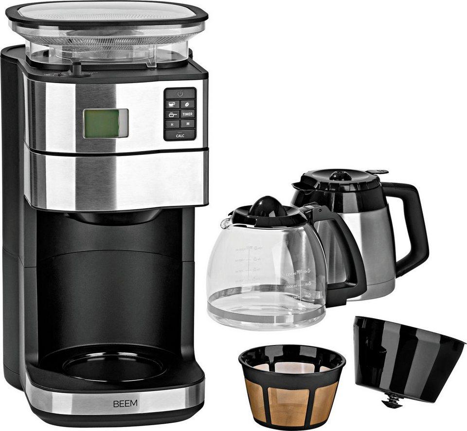 beem kaffeemaschine mit mahlwerk fresh aroma perfect duo 1 25l kaffeekanne permanentfilter 1x4