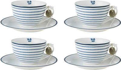 LAURA ASHLEY BLUEPRINT COLLECTABLES Cappuccinotasse »Candy Stripe«, Porzellan, 4 Tassen, 4 Untertassen